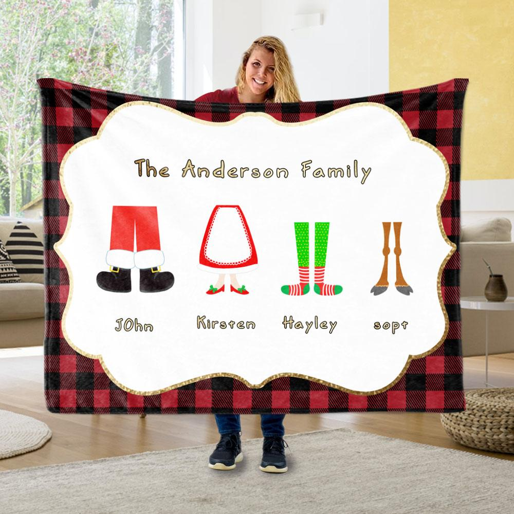 Personalized Christmas Feet Family Member's Name Fleece Blanket