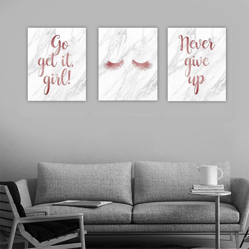 GO, GET IT, GIRL! NEVER GIVE UP Canvas Art Set, Family Canvas Art Set