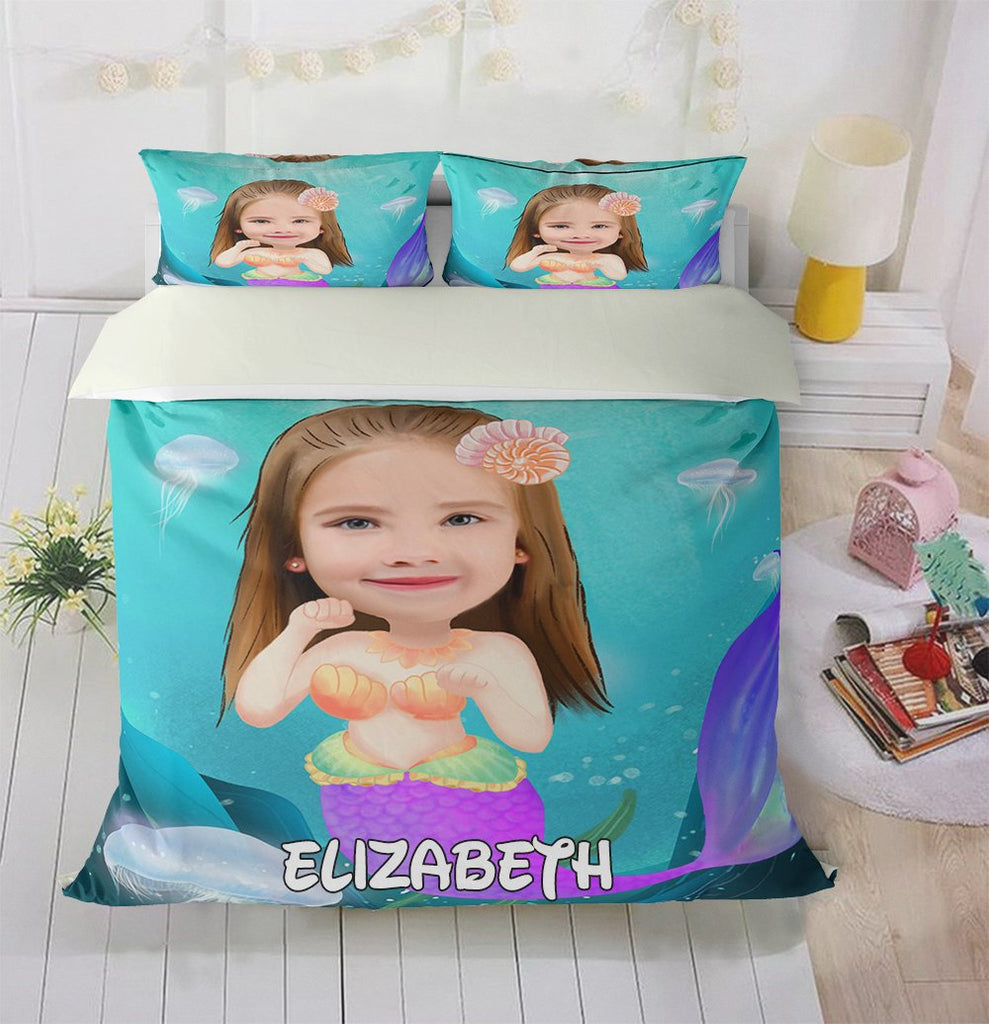 Personalized Hand-Drawing Kid's Photo Portrait Cozy Microfiber Bedding Set XI