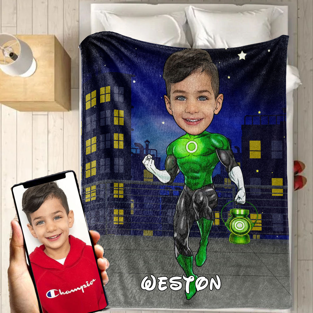 Personalized Hand-Drawing Kid's Photo Portrait Velveteen Plush Blanket XIX - Made in USA