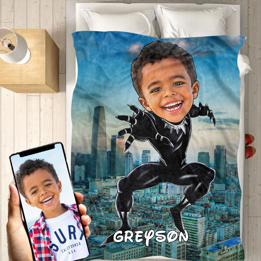 Personalized Hand-Drawing Kid's Photo Portrait Velveteen Plush Blanket XVIII - Made in USA