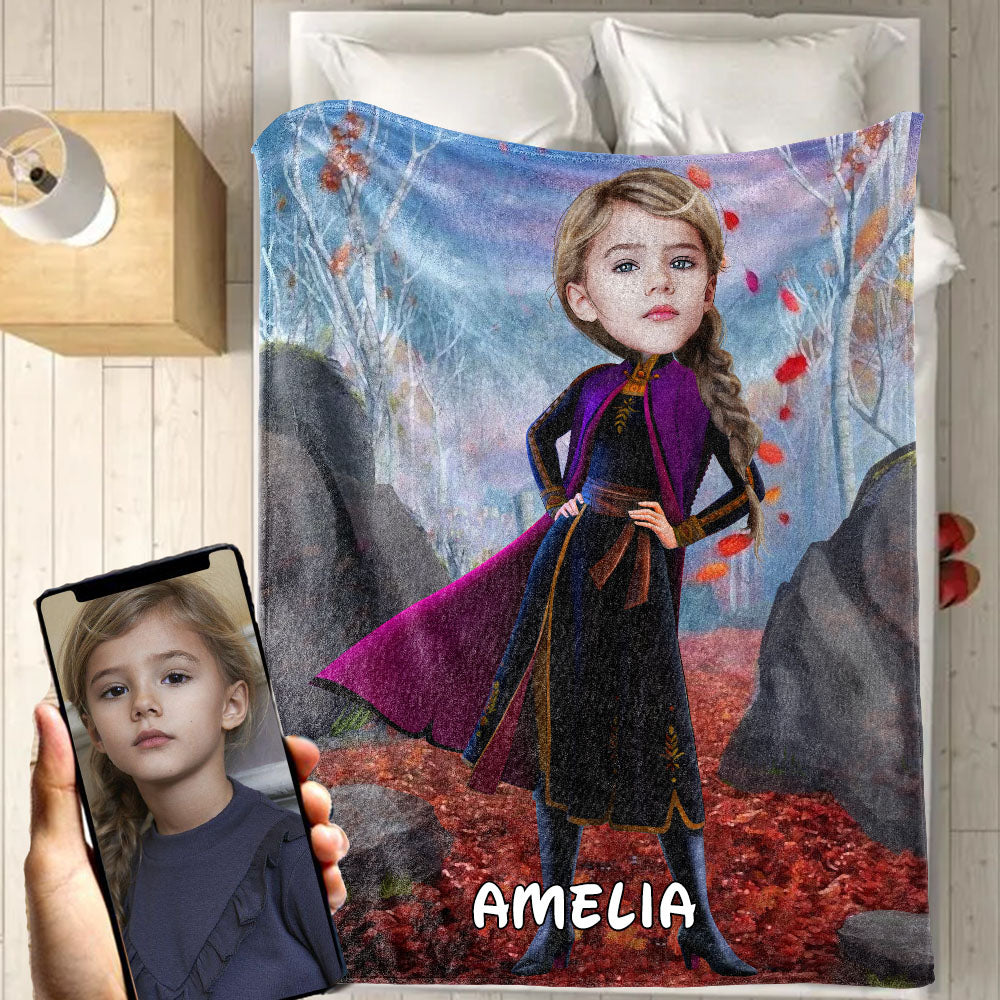Personalized Hand-Drawing Kid's Photo Portrait Fleece Blanket XV
