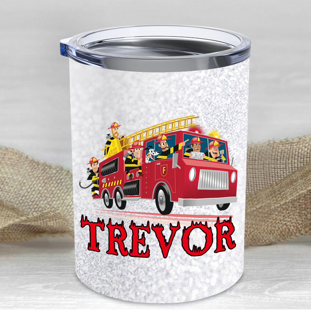 Custom Name Firefighter Children's Travel Drink Tumbler 10oz I