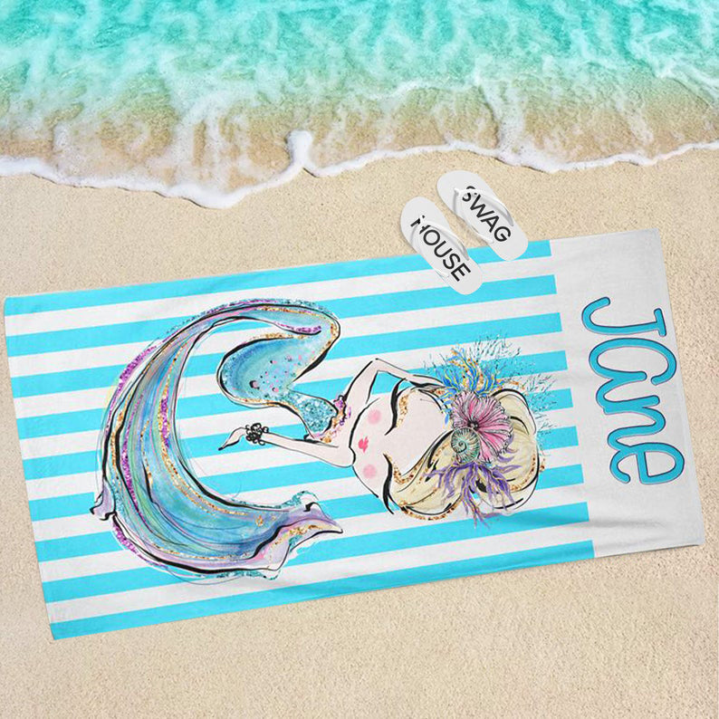 Personalized Blonde Mermaid Stripe Monogram Beach Towel, Personalized Kids Beach Towel, Personalized Towel, Custom Kids Towel, Towel for Kids, Summer Beach Towel