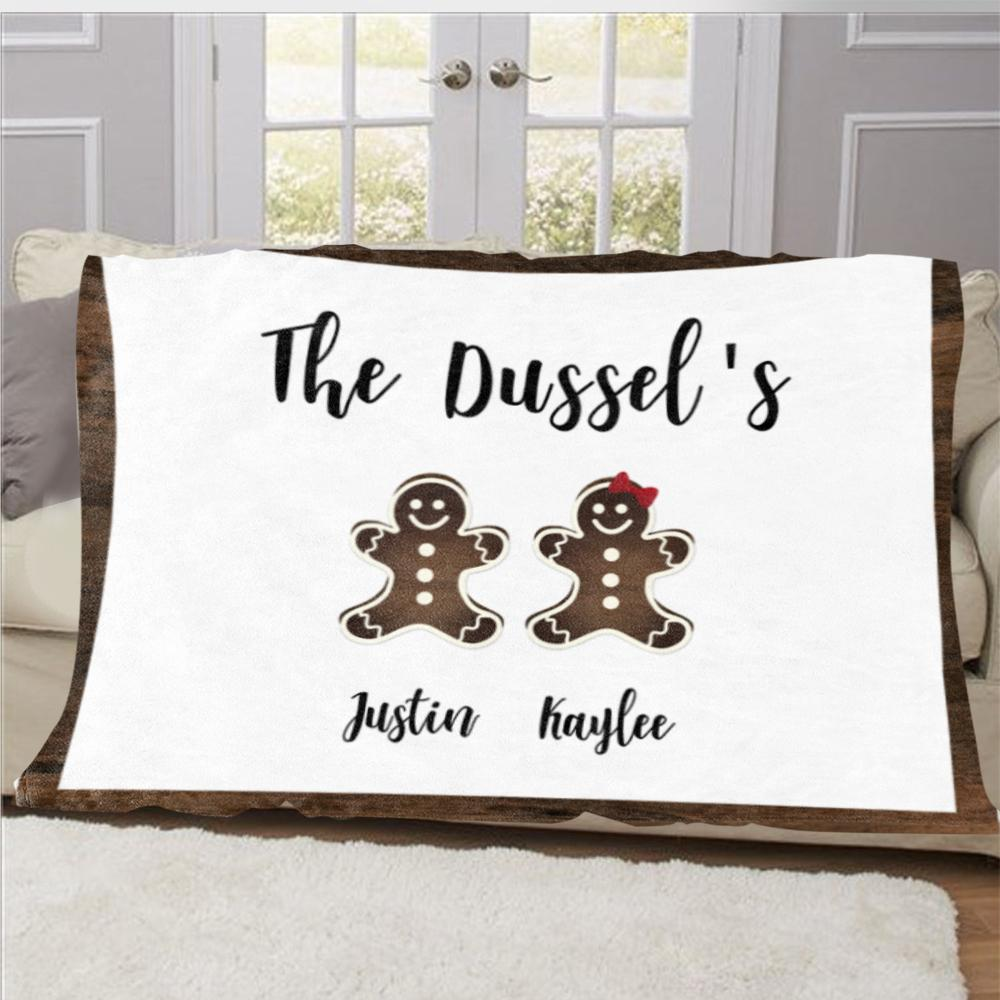 Personalized Gingerbread Christmas Family Member Fleece Blanket II