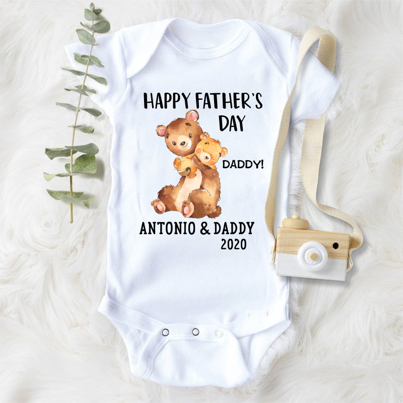 Custom Bear Father's Day Fleece Blankets / Baby Onesies / Dad Shirts
