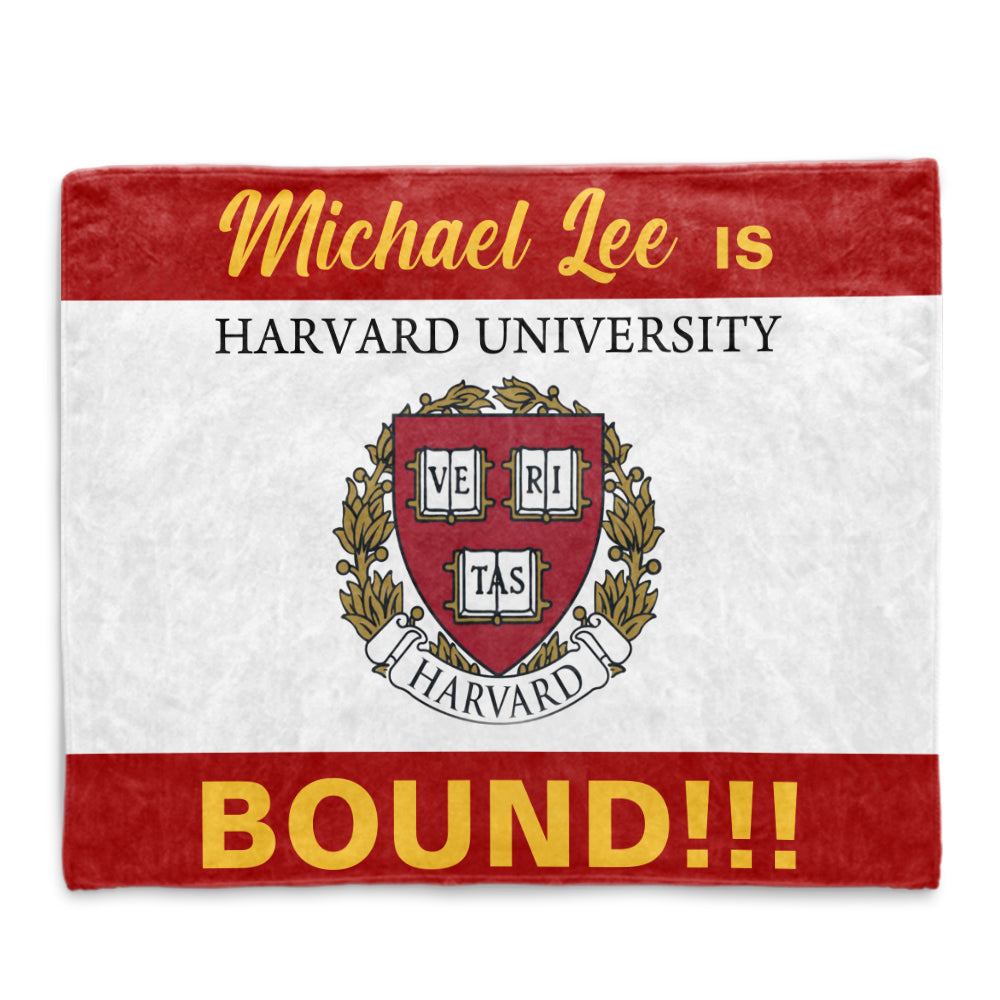 Custom Name, College Name, College Logo Graduation Cozy Plush Blankets, Red & White Background