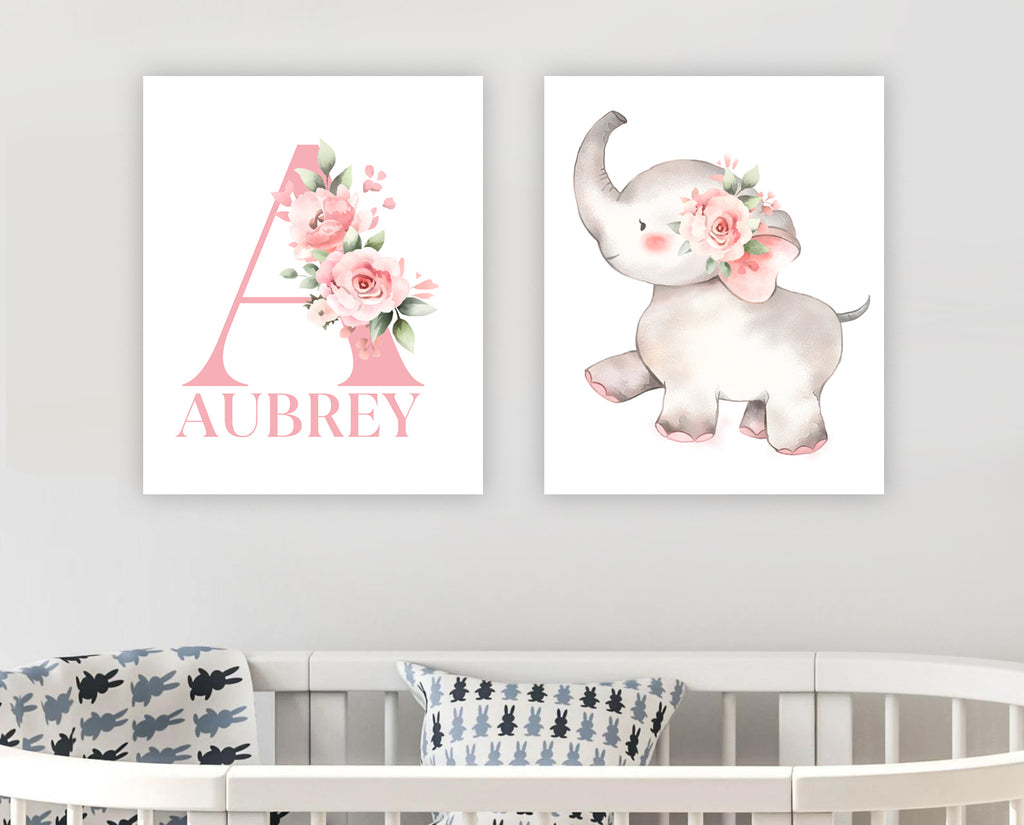 Custom Initial & Name Pink Floral Elephant Baby Nursery Canvas Wall Art - BUY 2 SAVE 10%