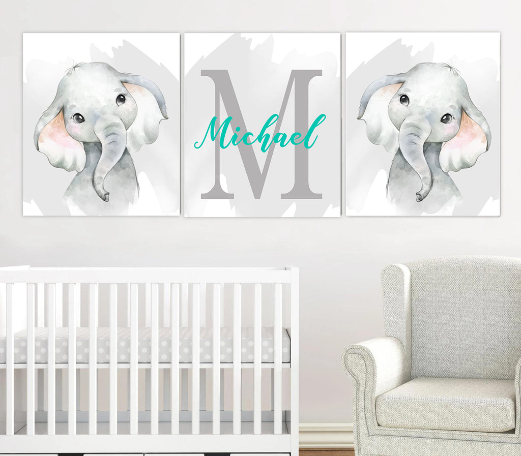 Personalized Name Baby Elephant Wall Art, Baby Nursery Wall Art, 3 Piece Set Canvas Print