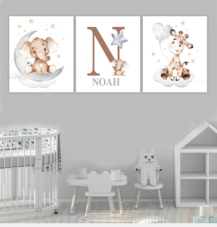Personalized Initial & Name Elephant & Giraffe Canvas Wall Art - BUY 2 GET 10% OFF