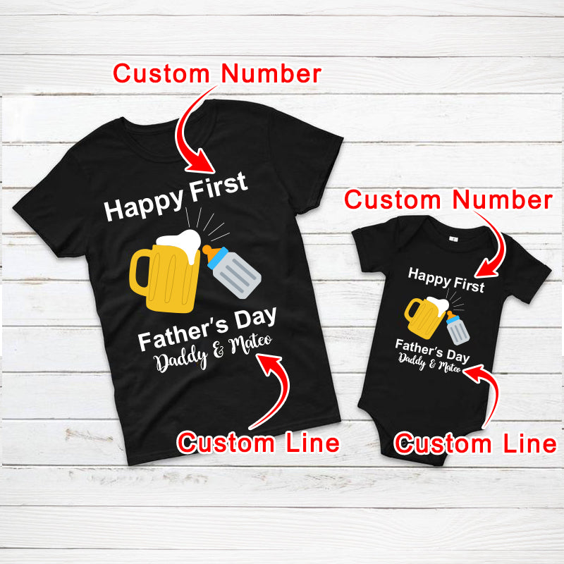 Personalized Cheers Father's Day Baby Onesies and Matching Dad Shirts