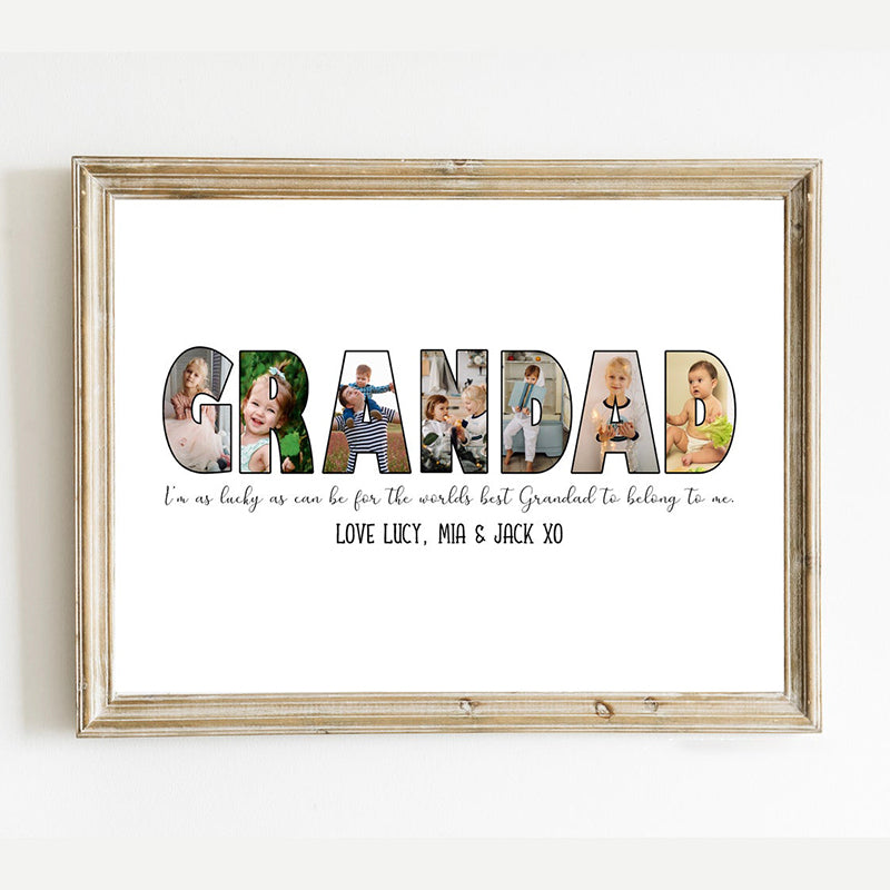 Personalized Father's Day Photo Print-Grandad Collage Wall Art