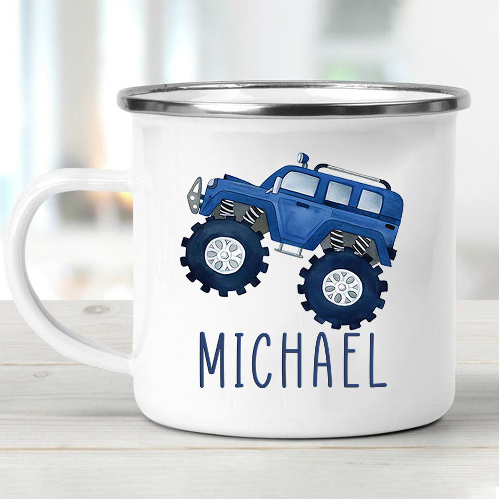 Custom Name Monster Truck Children's Enamel Campfire Mug IV