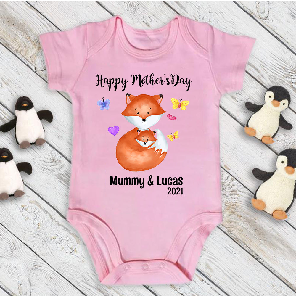 Custom Fox Mother's Day Onesies and Matching Mom Shirts