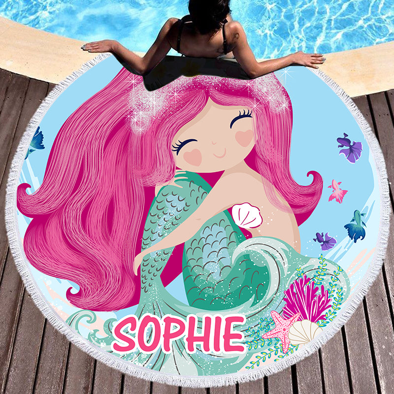 Custom Mermaid Beach Towel with Name I