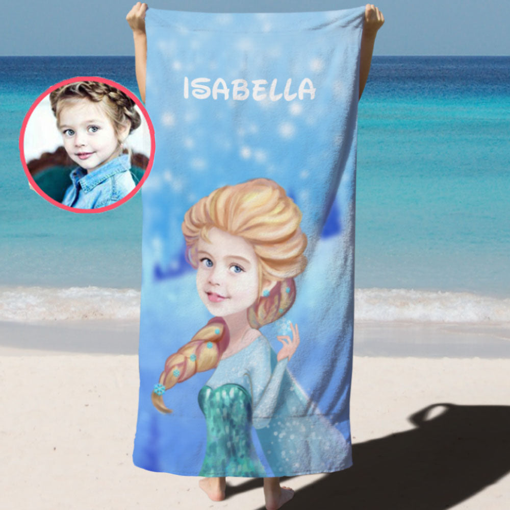 Personalized Hand-Drawing Kid's Photo Portrait Beach Towel IV-BUY 2 SAVE 10%
