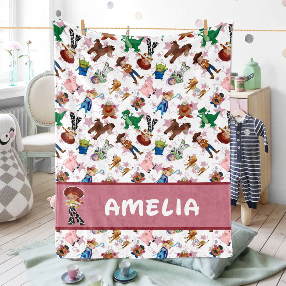 Personalized Baby Girl Animals Blanket, Custom Name Pink Stars Nursery Blanket - Made in USA