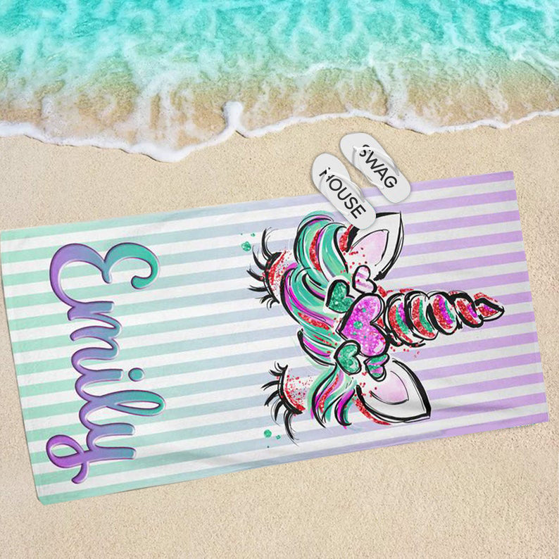 Personalized Unicorn Face Kids Beach Towel, Personalized Beach Towel, Personalized Towel, Custom Kids Towel, Towel for Kids, Summer Beach Towel