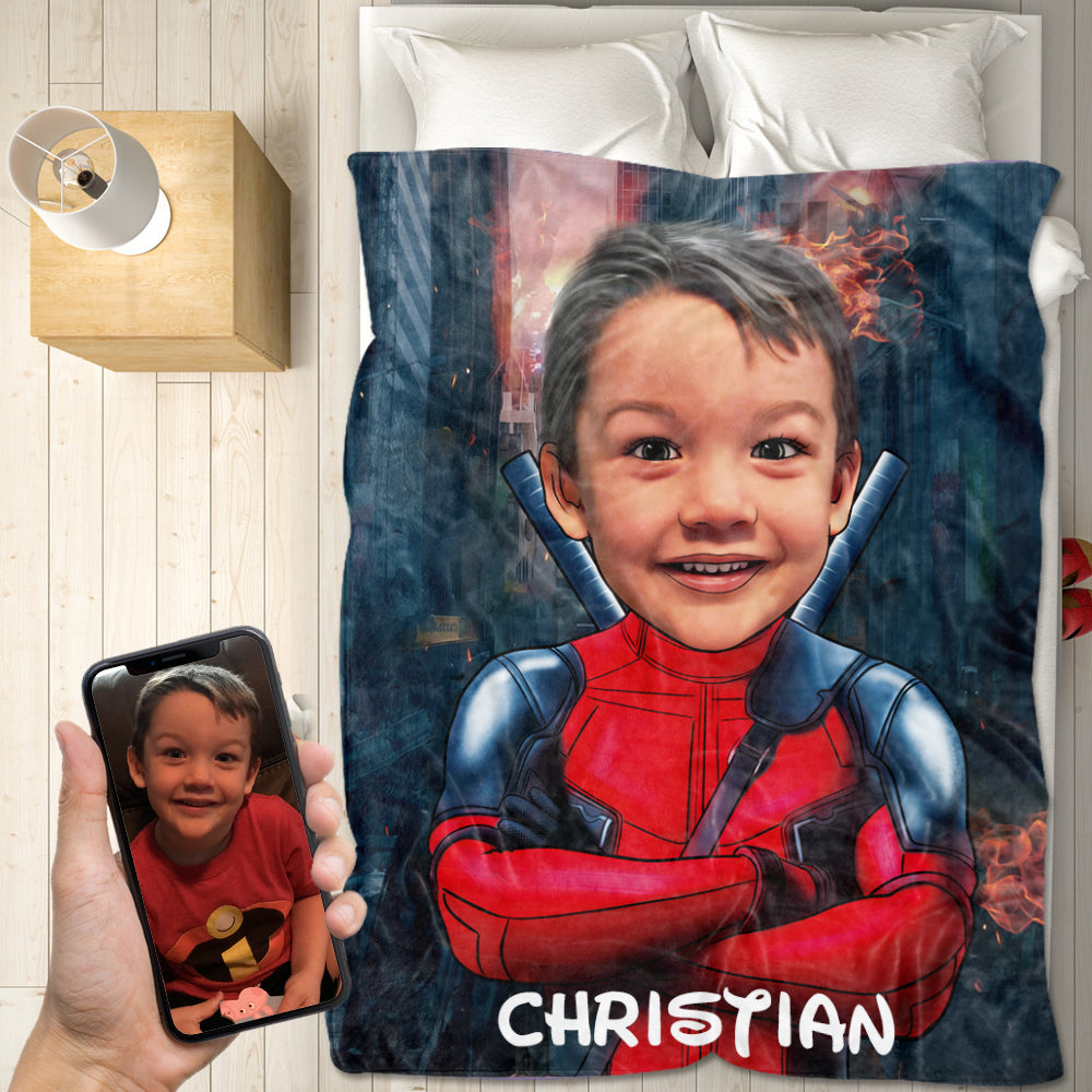 Personalized Hand-Drawing Kid's Photo Portrait Velveteen Plush Blanket XXV - Made in USA
