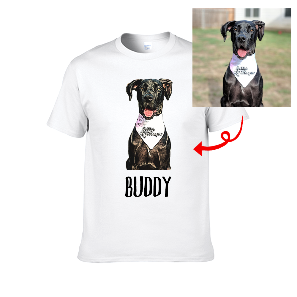Personalized Comic Style Cartoonize Pet Portrait—Unisex Tee