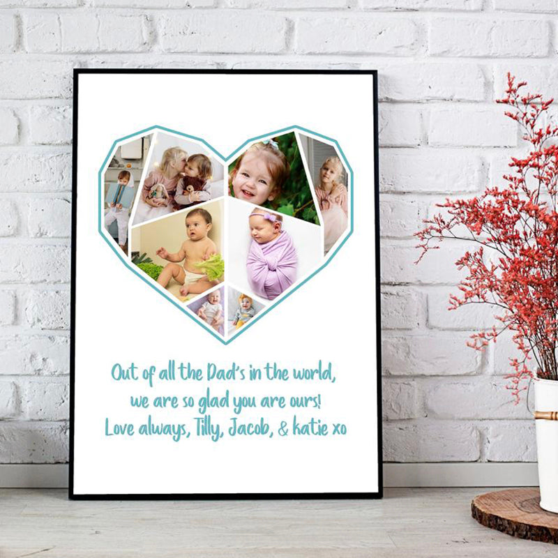 Personalized Father's Day Photo Print-Heart Collage Wall Art