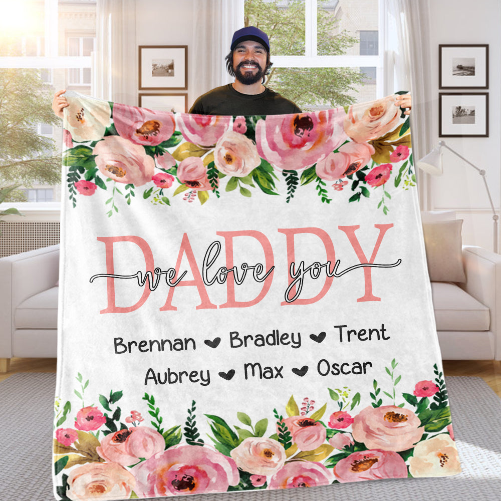 Personalized Pink Floral Cozy Plush Fleece Blankets with Your Nick & Kids' Names - BUY 2 GET 10% OFF