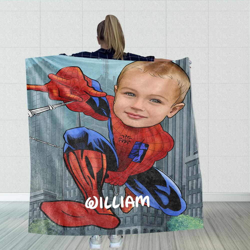 Personalized Hand-Drawing Kid's Photo Portrait Velveteen Plush Blanket IV - Made in USA