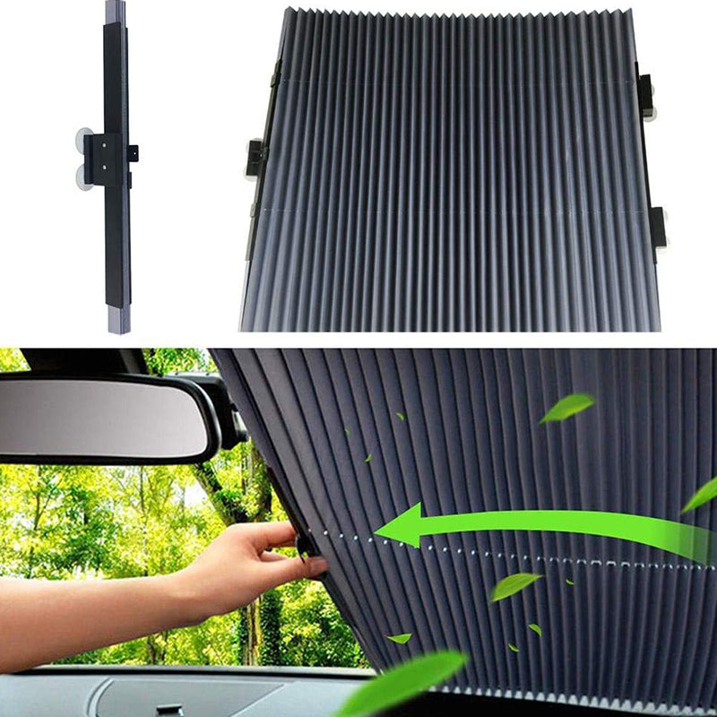 Retractable Windshield Sun Shade for Car for Universal Motor Vehicles Front and Rear Window