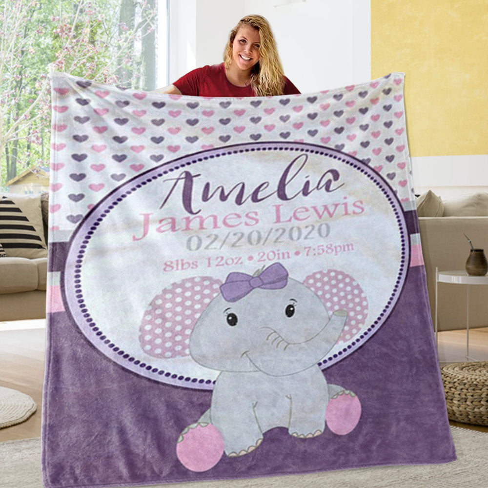 Personalized Elephant Newborn Baby Name Blanket, Custom Purple Elephant Baby Gift - Made in USA