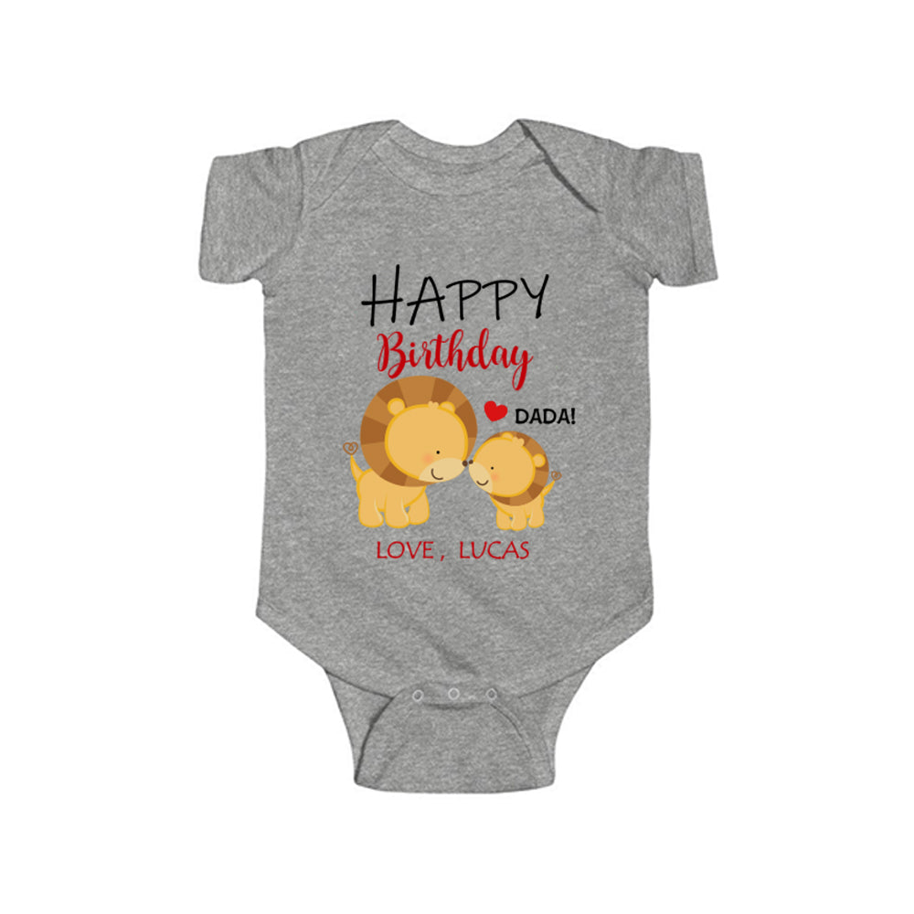 Custom Title Baby Name Infant Fine Jersey Bodysuit Lion