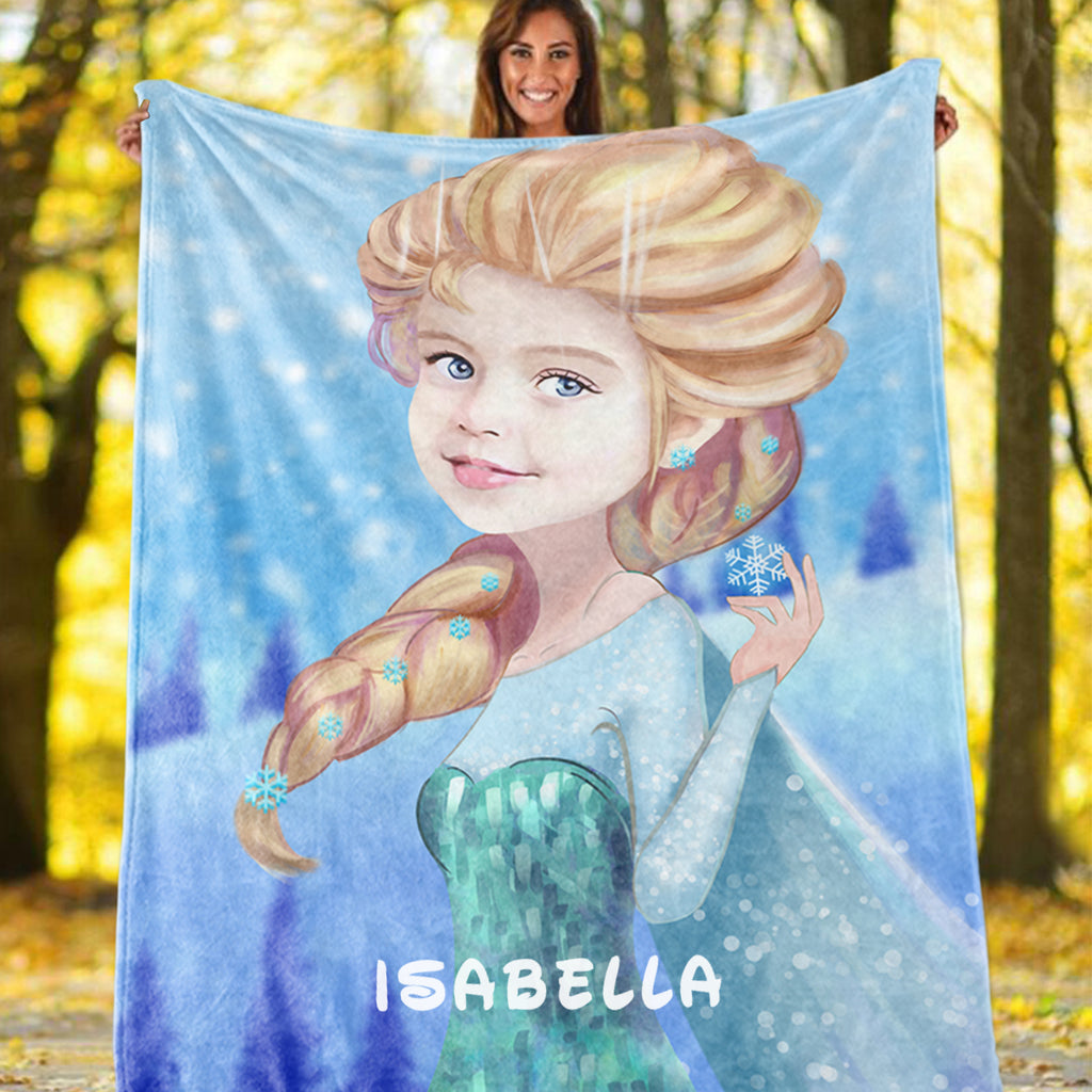 Personalized Hand-Drawing Kid's Photo Portrait Fleece Blanket I-BUY 2 SAVE 10%