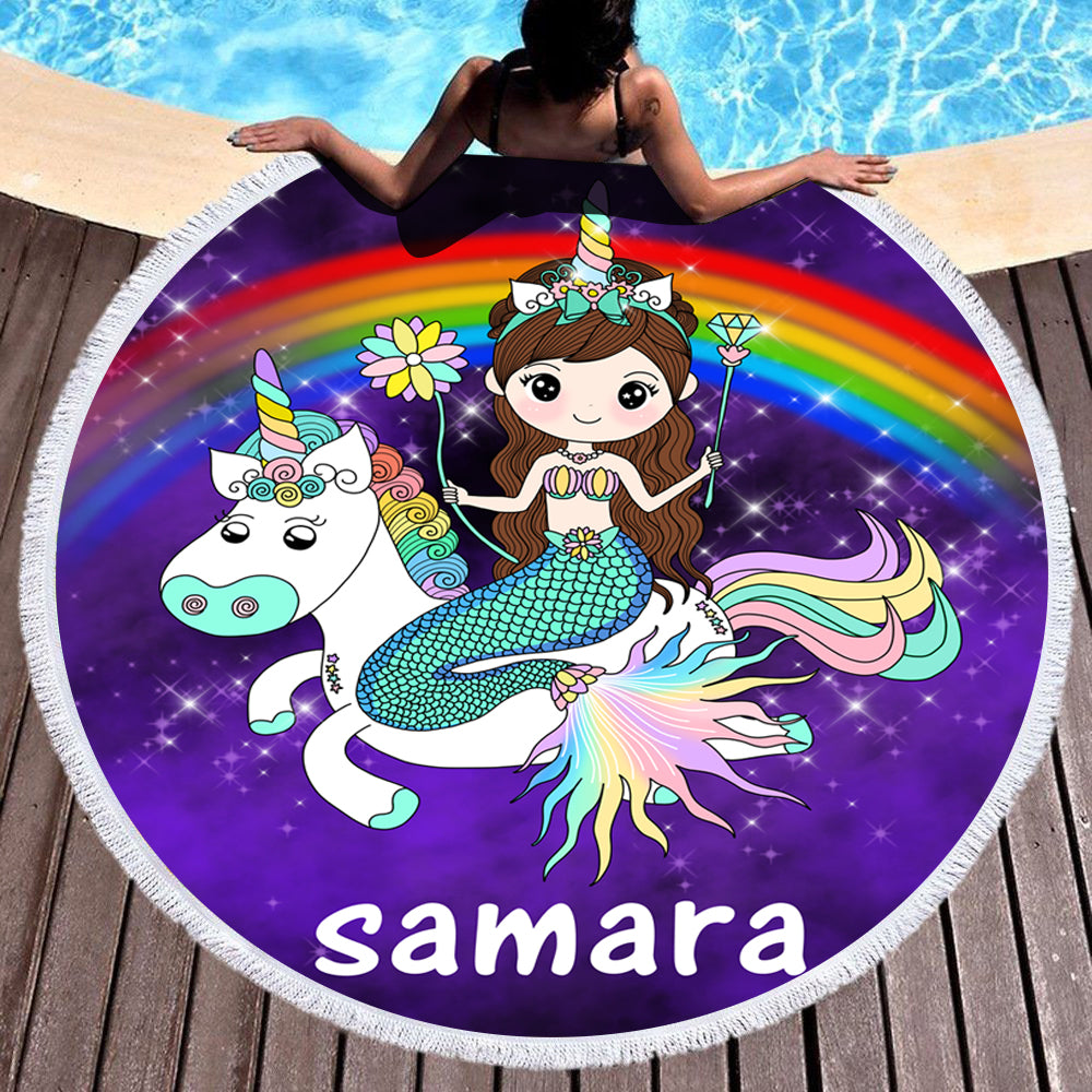 Custom Mermaid Beach Towel with Name II
