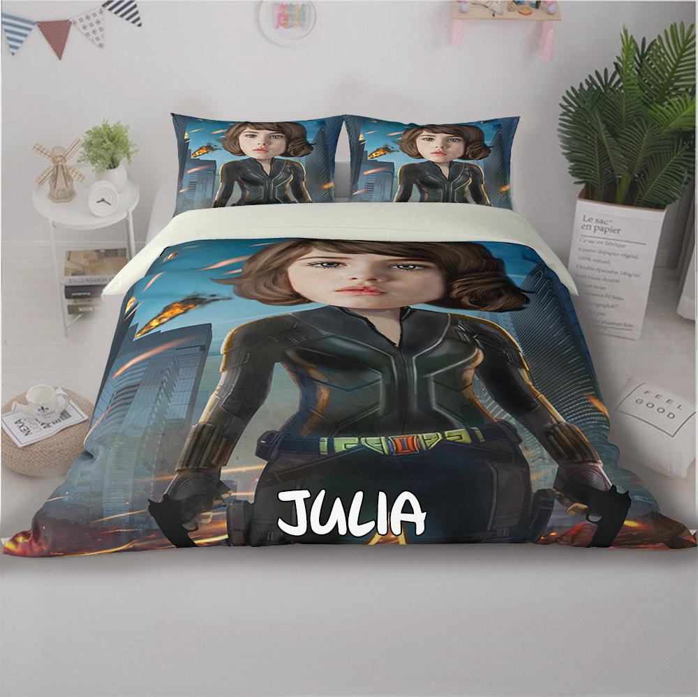Personalized Hand-Drawing Kid's Photo Portrait Cozy Microfiber Bedding Set IX