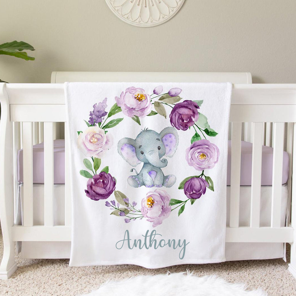 Personalized Purple Floral Elephant Baby Blanket