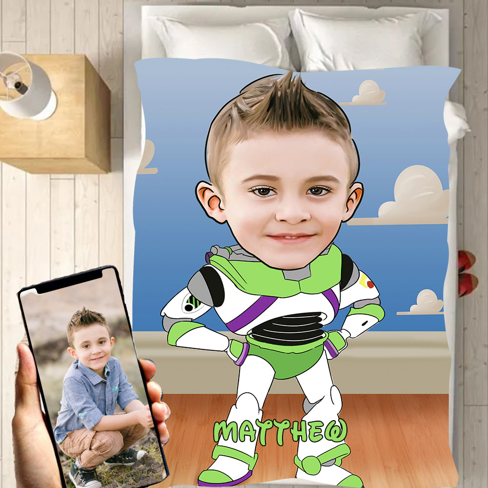 Personalized Hand-Drawing Kid's Photo Portrait Velveteen Plush Blanket VIII - Made in USA