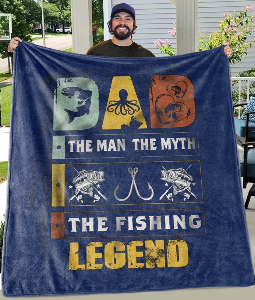 The Fishing Legend Fleece Blankets - Perfect Birthday Holiday Gifts for Dad