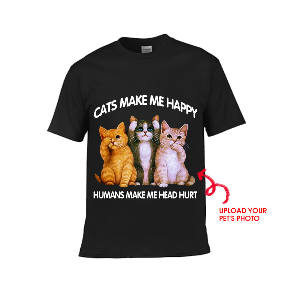 Cats Make Me Happy Humans Make Me Head Hurt - Kid's Tee