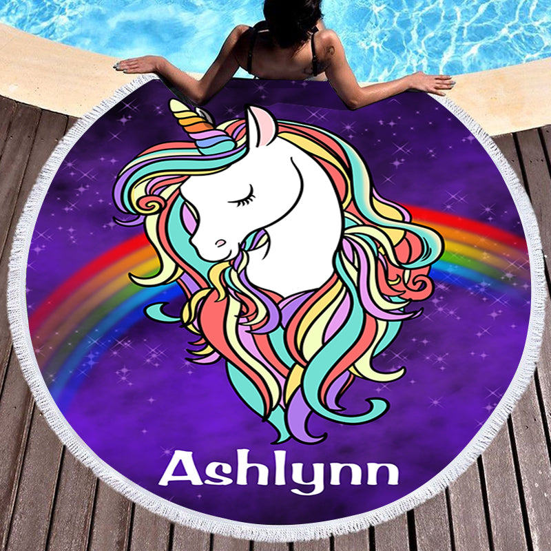 Custom Magical Unicorn Beach Towel with Name II