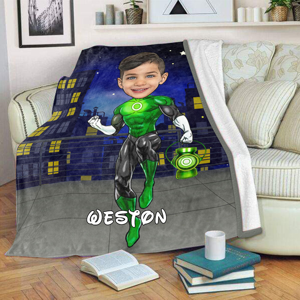 Personalized Hand-Drawing Kid's Photo Portrait Fleece Blanket XIII-BUY 2 SAVE 10%