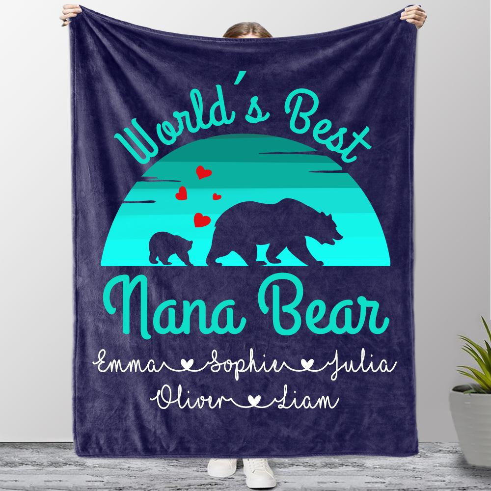 Custom Title Christmas Bear Blanket with Grandkids' Names