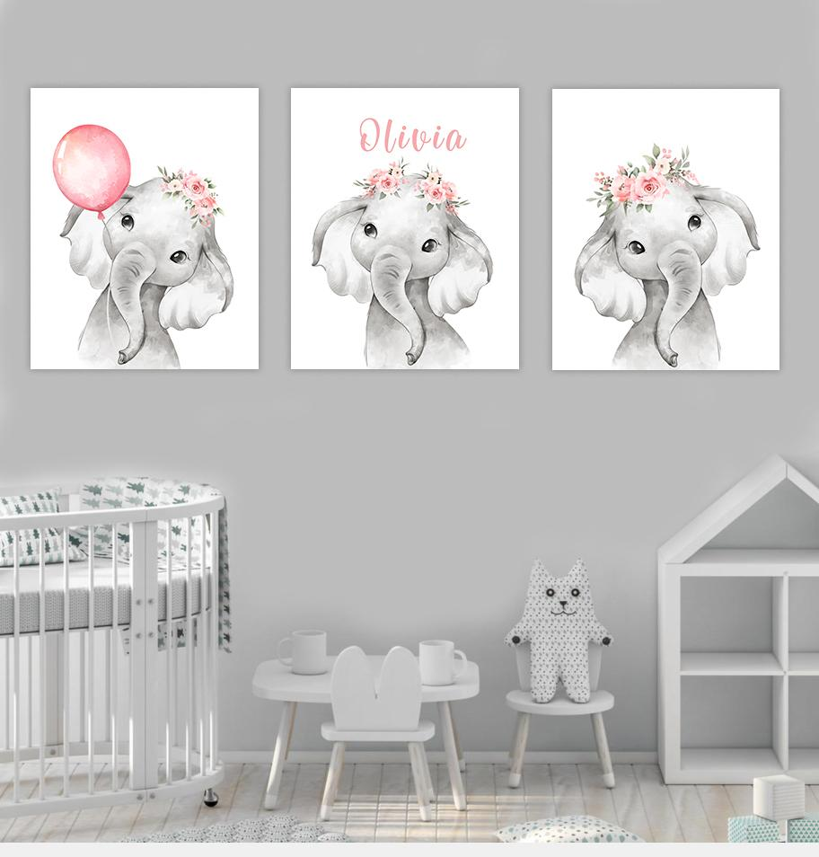 Personalized Initial & Name Pink Floral Elephant Canvas Wall Art