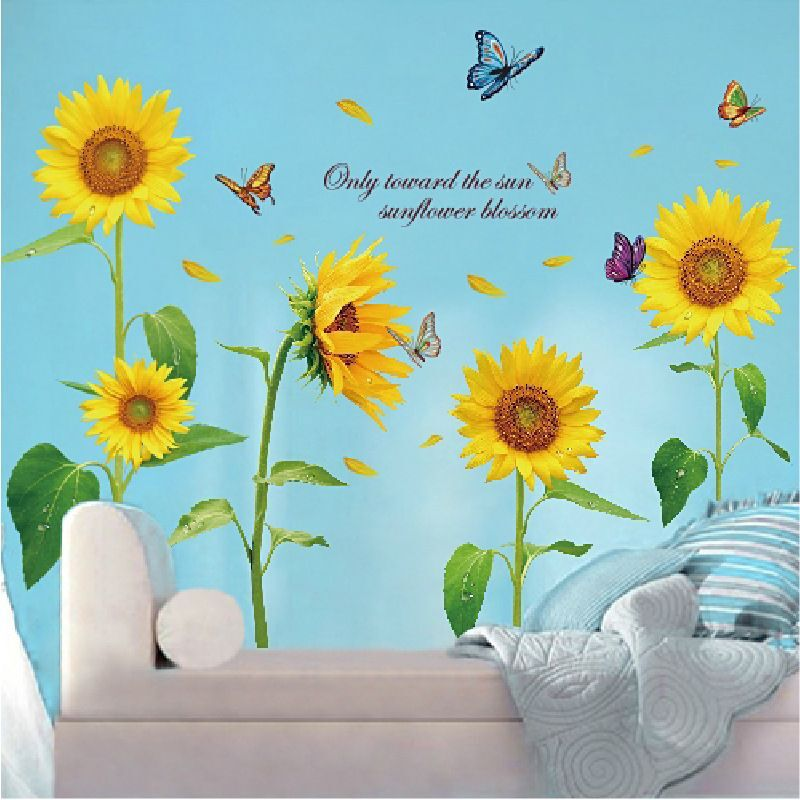 Removable Sunflowers Decals Home Decoration Flower Wall Stickers Wall Art Decal 03