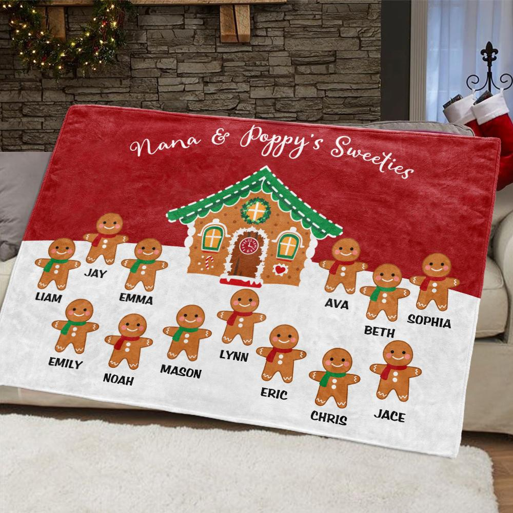 Custom Gingerbread Christmas Blanket with Children's Names