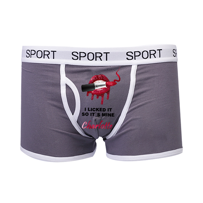 Personalized Name Men's Boxer - I Licked It So It's Mine
