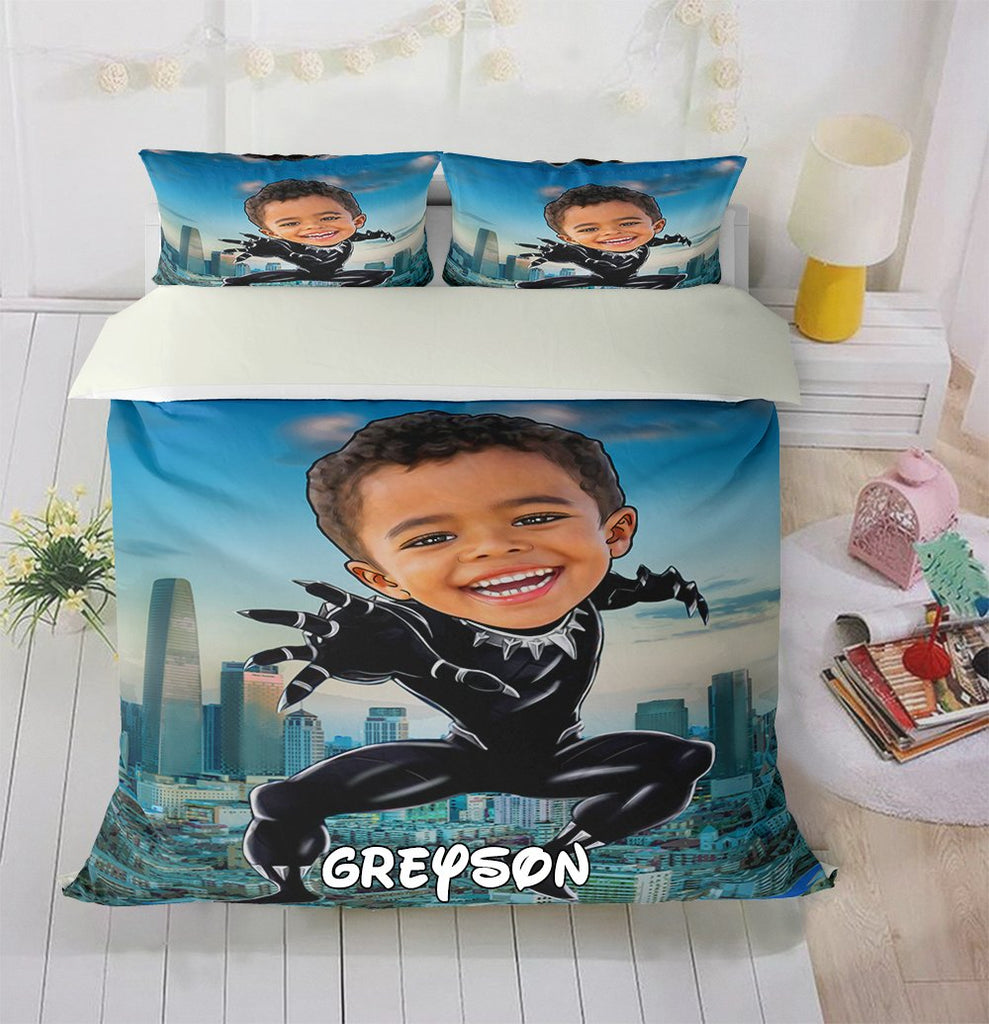 Personalized Hand-Drawing Kid's Photo Portrait Cozy Microfiber Bedding Set XIV