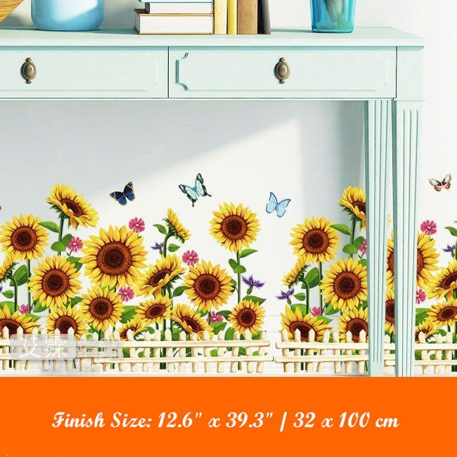 Removable Sunflowers Decals Home Decoration Flower Wall Stickers Wall Art Decal 07