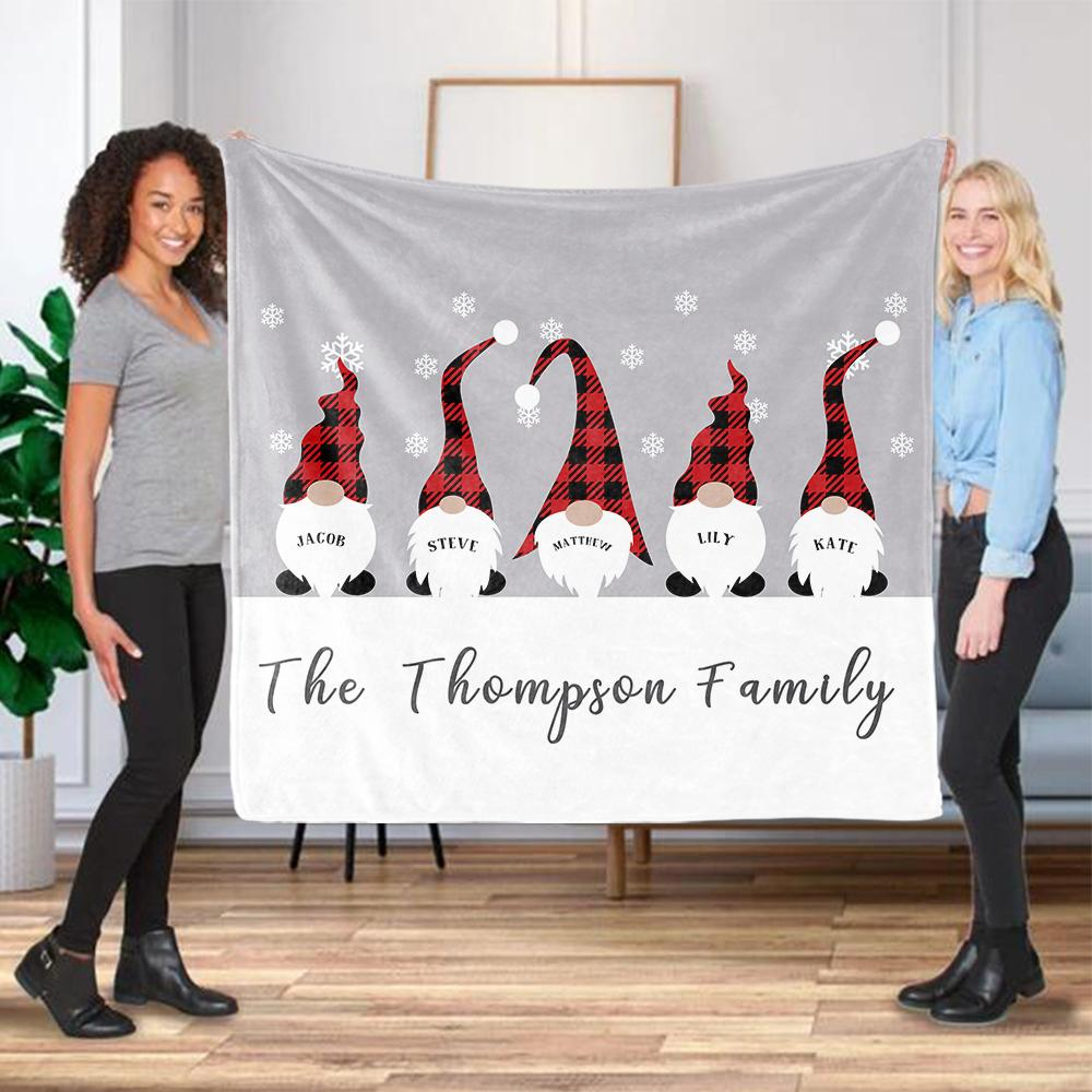 Personalized Christmas Gnomes Family Member's Name Fleece Blanket II