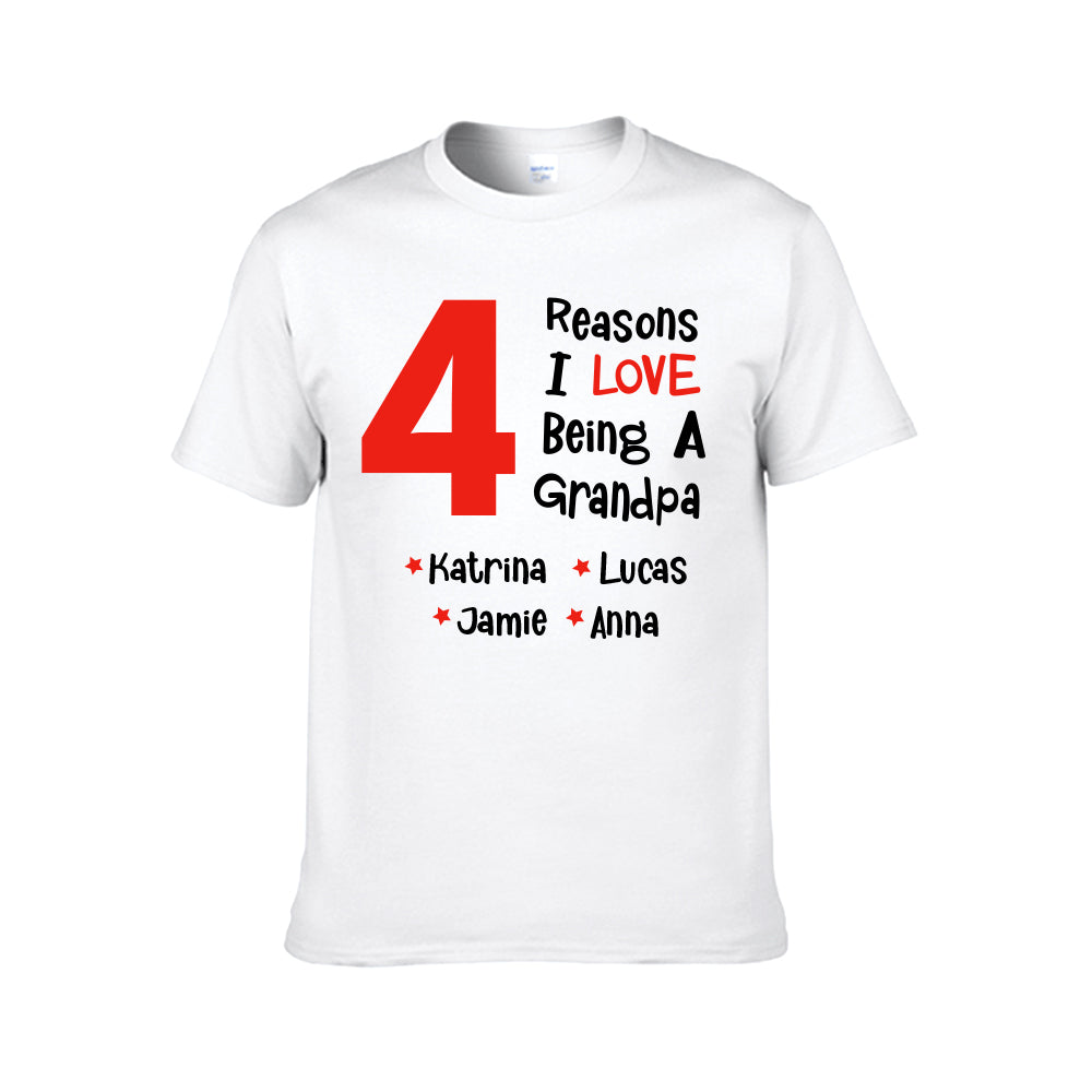 Reasons I Love Being A Grandpa-Personalized Tee