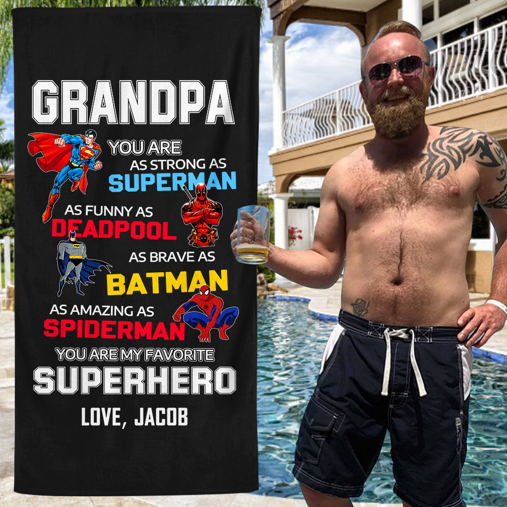 Custom Father's Day Beach Towel with Nickname & Kids' Names II