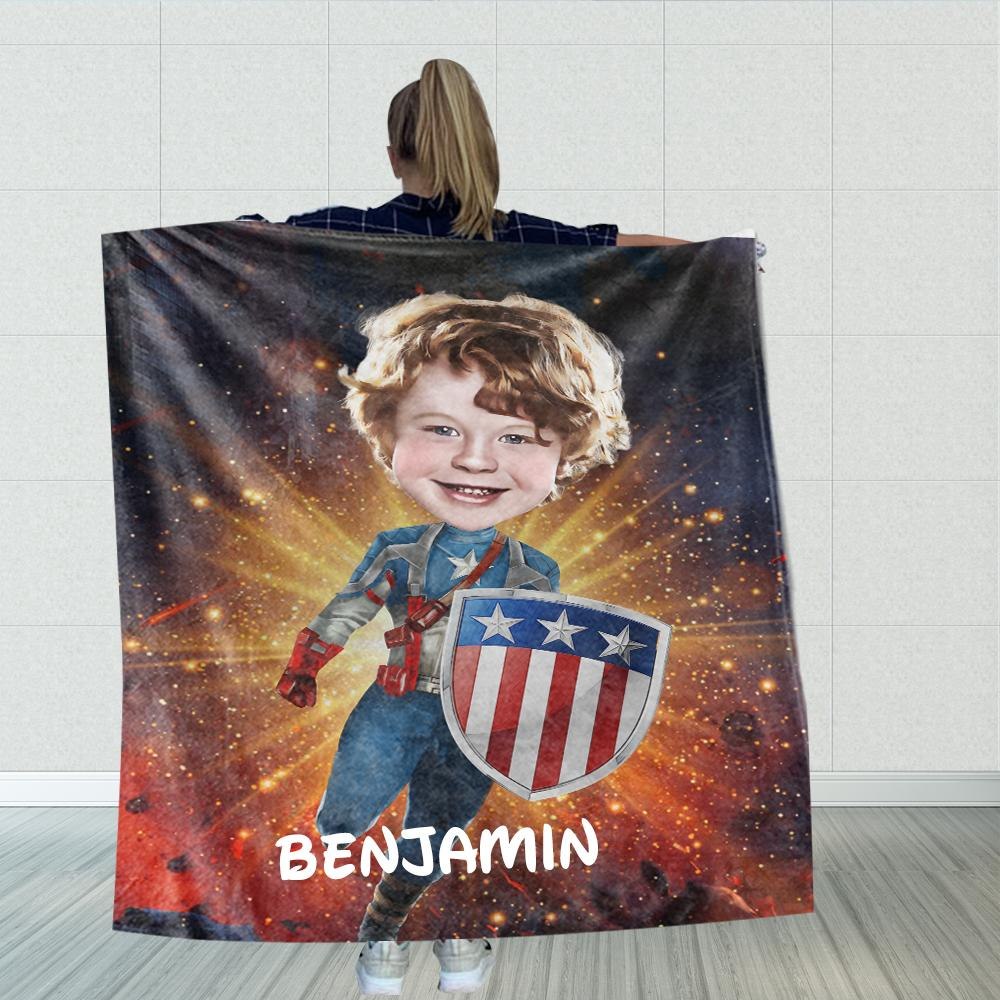 Personalized Hand-Drawing Kid's Photo Portrait Velveteen Plush Blanket II - Made in USA